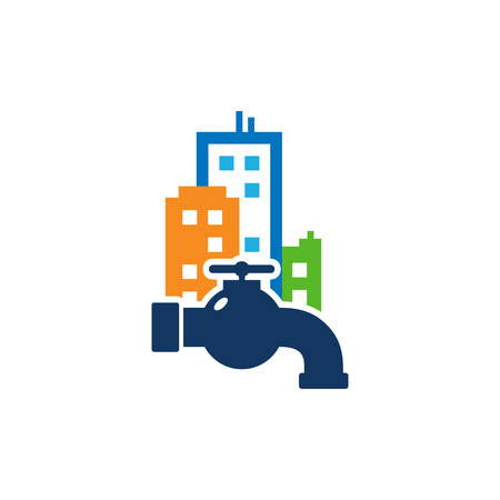 Plumbing Town Logo Icon Design Illustration
