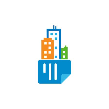 Document Town Logo Icon Design Stock Illustratie
