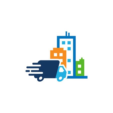 Delivery Town Logo Icon Design Stock Illustratie