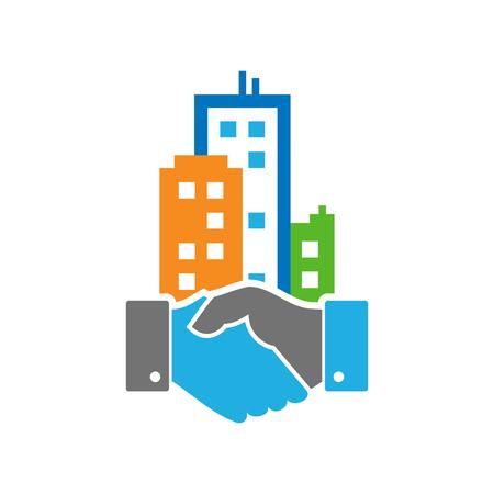 Handshake Town Logo Icon Design