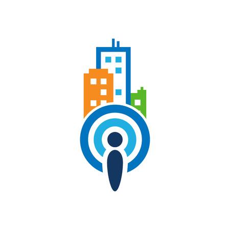 Signal Town Logo Icon Design Stock Illustratie