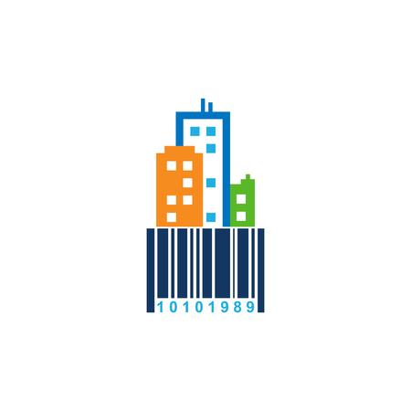 Barcode Town Logo Icon Design Stock Illustratie