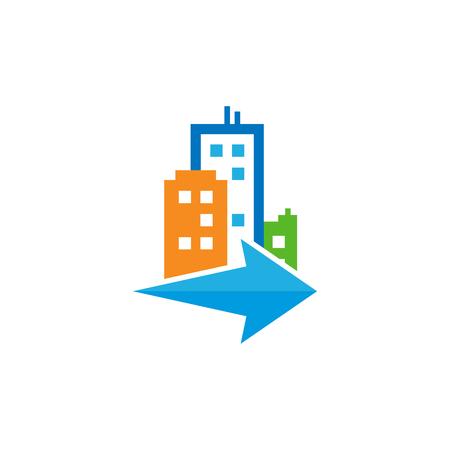 Arrow Town Logo Icon Design Illustration