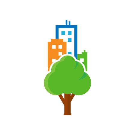 Tree Town Logo Icon Design Stock Illustratie