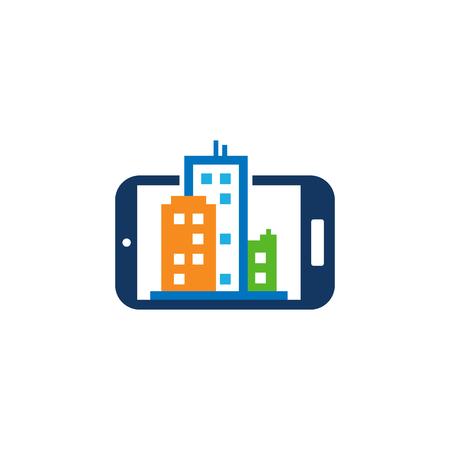 Mobile Town Logo Icon Design Stock Illustratie