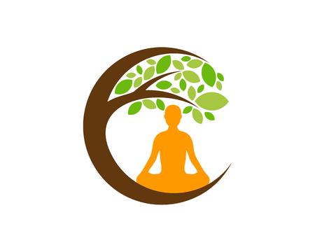 Diseño de icono de logotipo de árbol de meditación