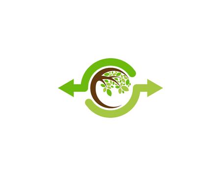 Transfer Tree Logo Icon Design Ilustração