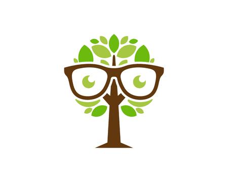 Glasses Tree Logo Icon Design