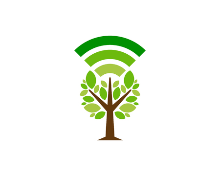 wireless internet Tree Logo Icon Design