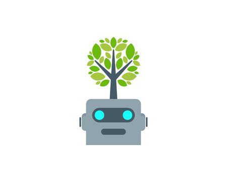 Robot Tree Logo Icon Design
