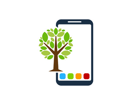 Phone Tree Logo Icon Design