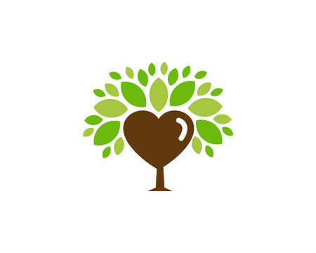 Heart Tree Logo Icon Design