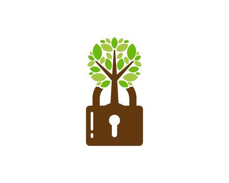 Lock Tree Logo Icon Design Foto de archivo - 102231015