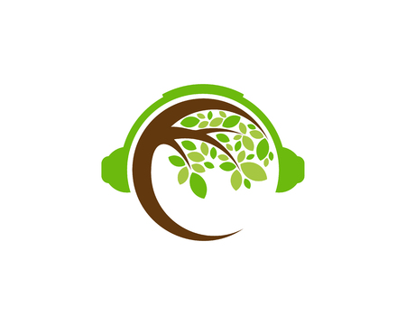 Headphone Tree Logo Icon Design 向量圖像