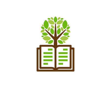 Book Tree Logo Icon Design