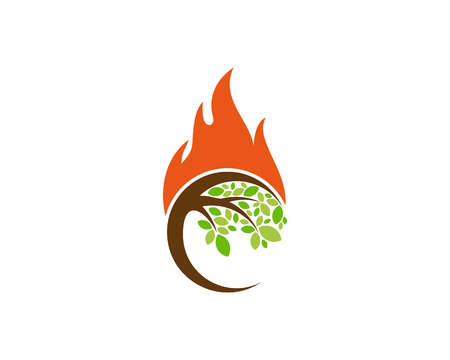 Fire Tree Logo Icon Design