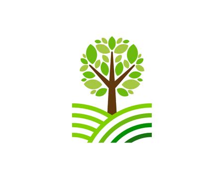 Field Tree Logo Icon Design Illustration
