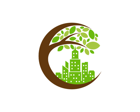 Town Tree Logo Icon Design Vettoriali