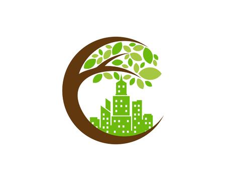 Town Tree Logo Icon Design Illustration