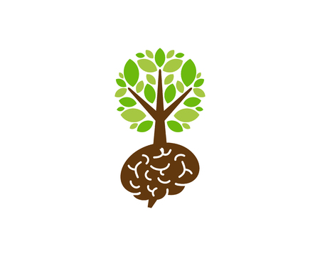 Brain Tree Logo Icon Design Иллюстрация