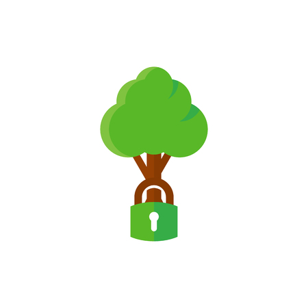 Lock Tree Logo Icon Design Foto de archivo - 102231295