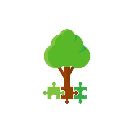Puzzle Tree Logo Icon Design Çizim