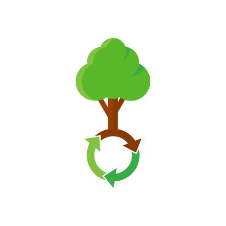 Recycle Tree Logo Icon Design Illustration