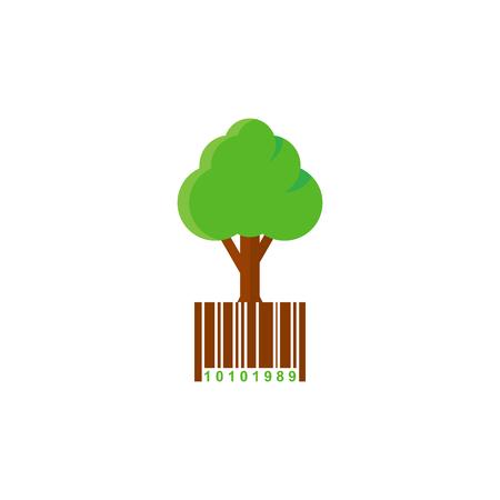 Barcode Tree Logo Icon Design