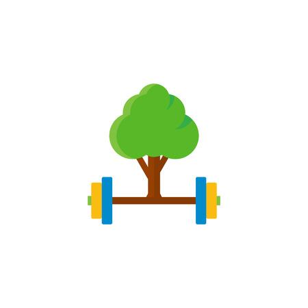 Barbell Tree Logo Icon Design