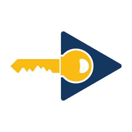 Key Video Logo Icon Design Vectores