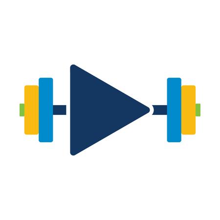 Barbell Video Logo Icon Design