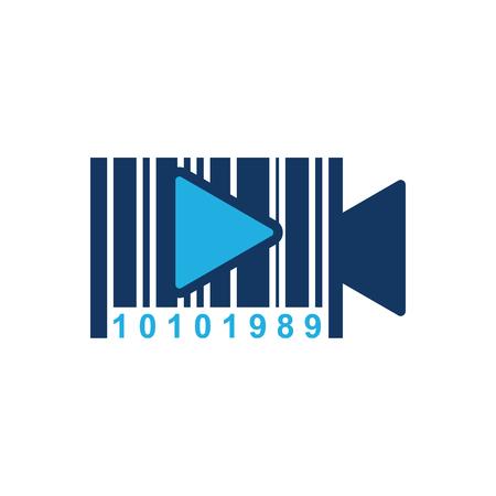 Barcode Video Logo Icon Design Çizim