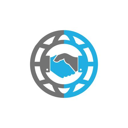 Handshake World Logo Icon Design