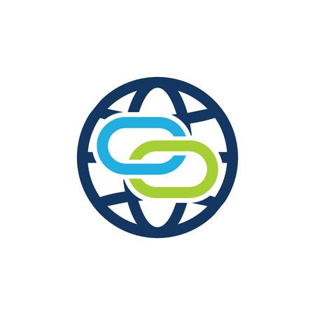 Link World Logo Icon Design Illustration