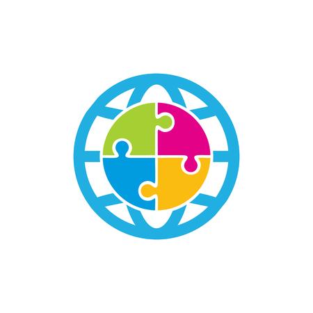 Puzzle World Logo Icon Design