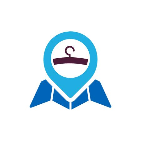 Laundry Map Logo Icon Design