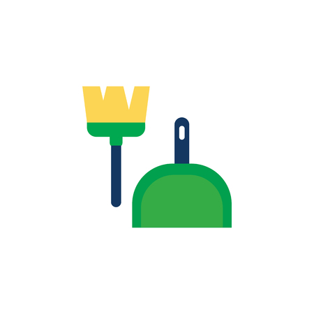 Broom And Dust Pan Icon Design