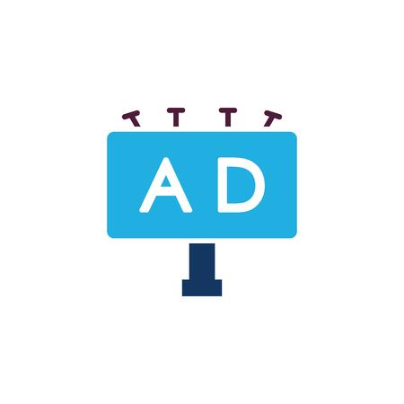 Diseño de icono de publicidad de cartelera