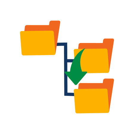 Diseño de icono de logotipo de carpeta abajo