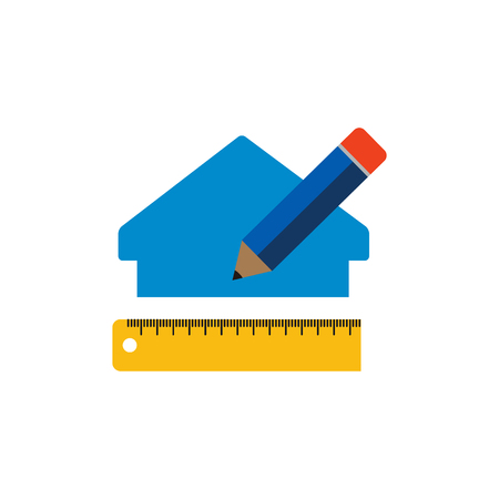 Measure House Renovation Logo Icon Design