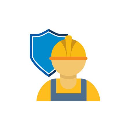 Diseño de icono de logotipo de seguro de trabajador