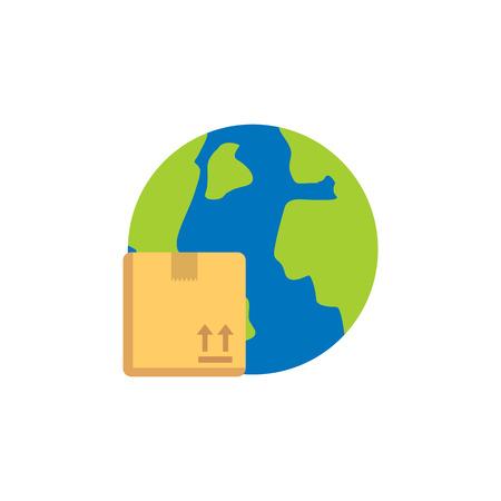 Globe Logistic Service Logo Icon Design Illustration