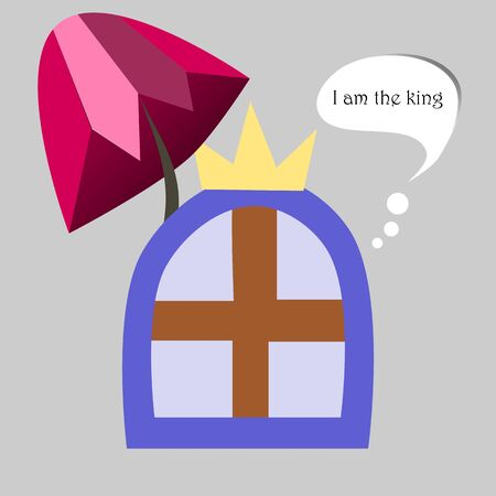 illustration of a window king with umbrella