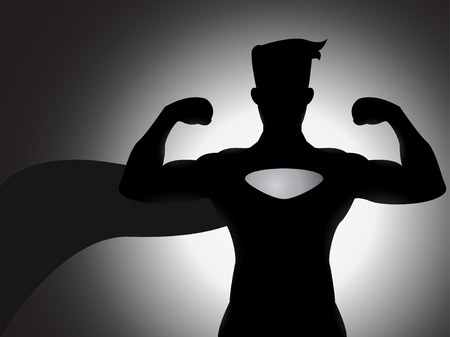 mighty: A mighty superhero silhouette with shading effects