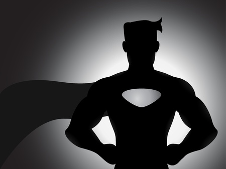 superhero cape: A superhero silhouette with shading effects Illustration