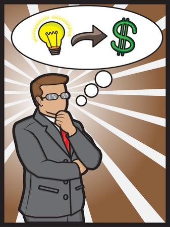 A illustration of a businessman thinking to make money Illustration