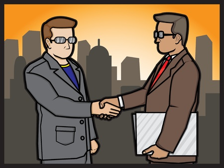 A cartoon illustration of a businessmans shaking hands for a deal Stock Vector - 18306974