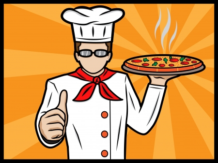 An illustration of a chef showing thumbs up, Objects are layered so for ease of editing