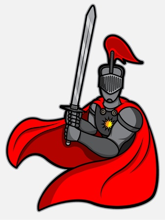 stance: A cartoon illustration of a knight with fighting stance pose, object are layered so ease for editing  Illustration