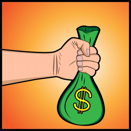 hand holding money bag: An illustration of a hand holding money bag Illustration